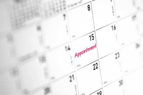 appointment reminder on a calendar