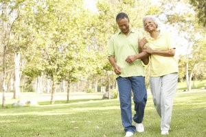 An older couple walking