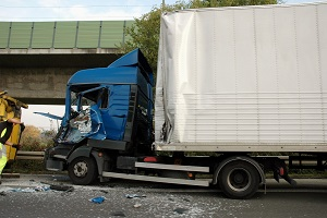 Truck crash at underpass