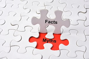 Myths and facts printed on jigsaw puzzle pieces