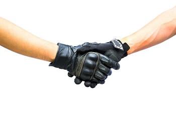 bikers shake hands