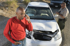 Man in car accident on cell phone
