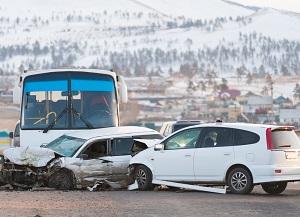 Bus accident scene in Indiana