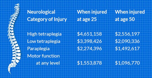 Spinal cord injury treatment cost infographic