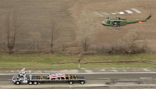 Helicopter and Semi Truck
