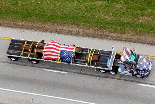 Semi hauling WTC beams
