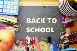 Back to school collection of classroom supplies