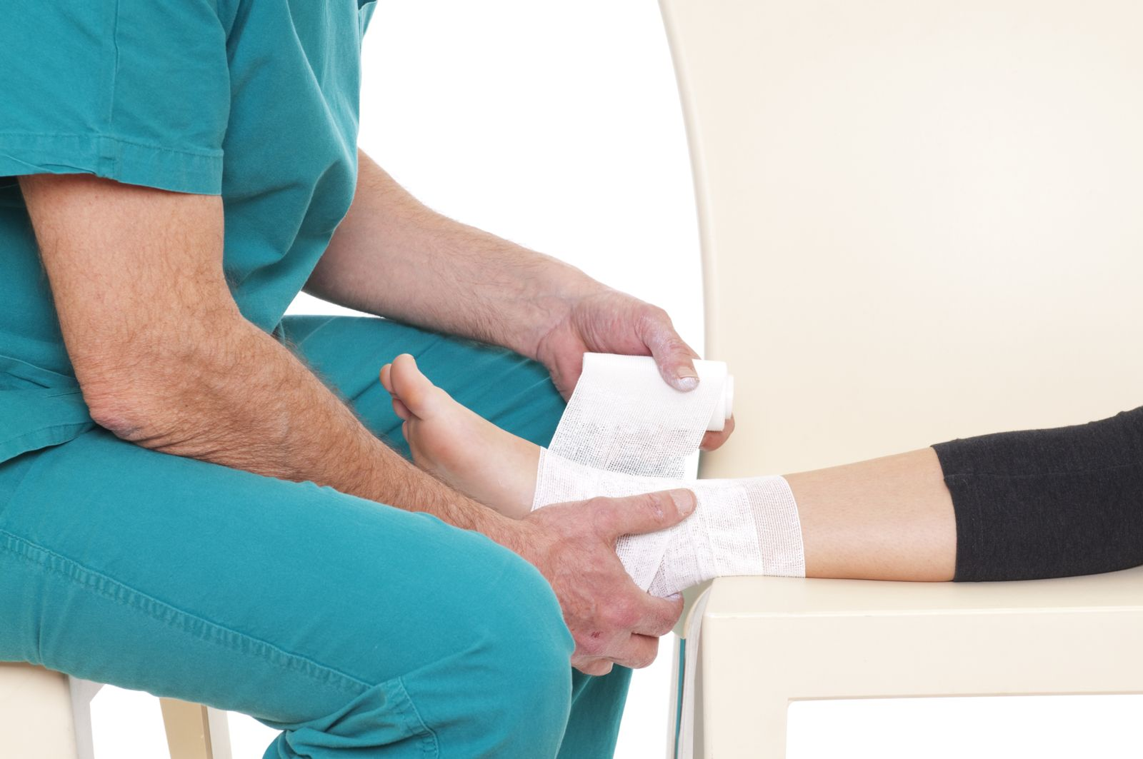 Doctor wrapping a sprained ankle