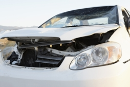 Front End of a Damaged Car