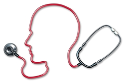 A Red Stethoscope in the Shape of a Head