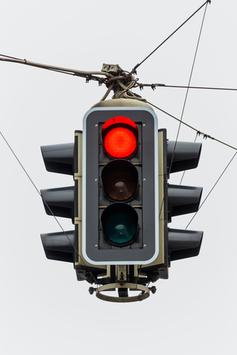 A Closeup of a Red Traffic Light