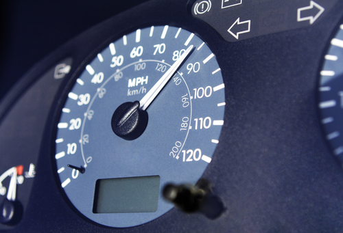 Closeup of a Car Speedometer
