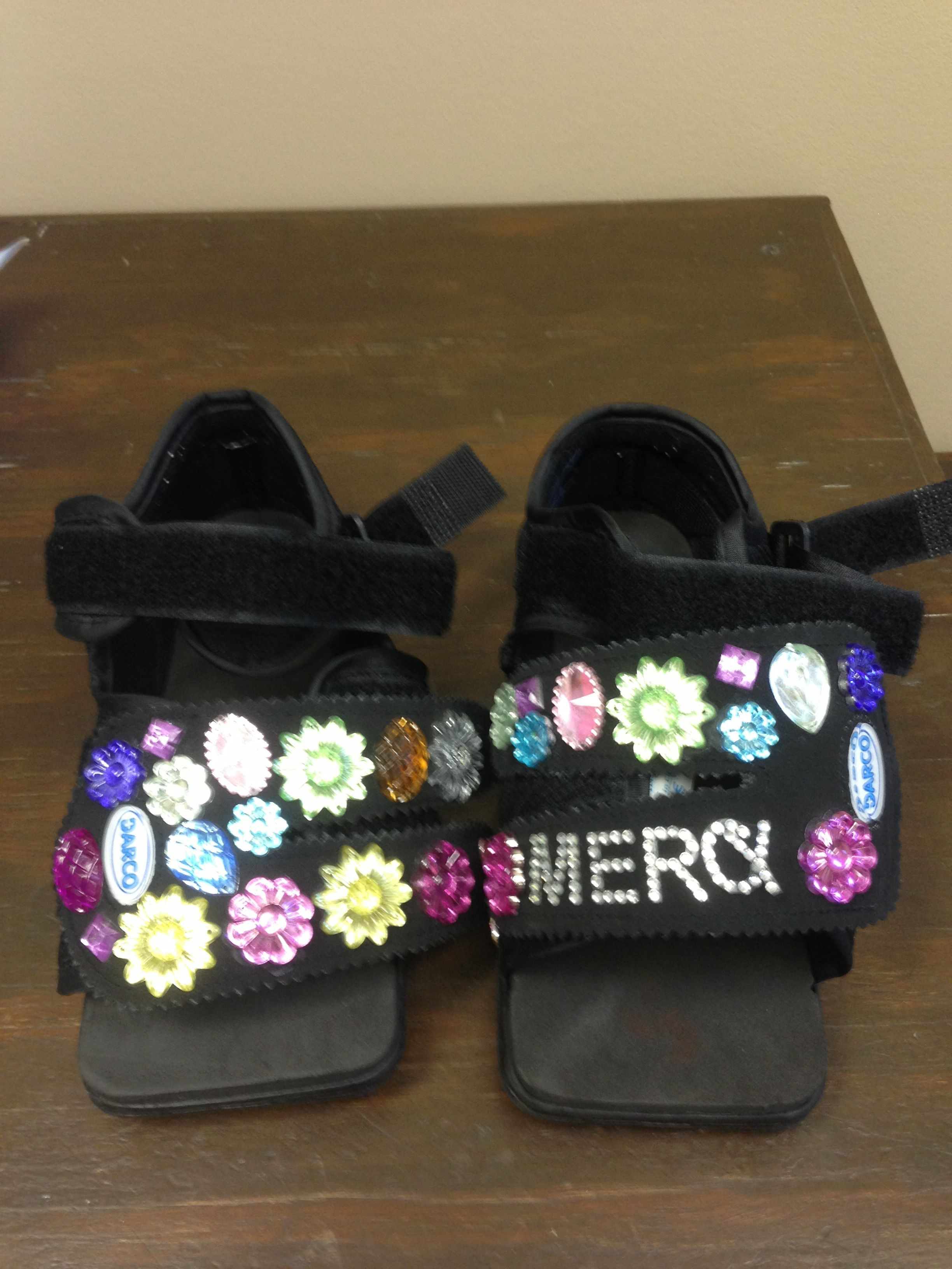 Bedazzled Surgical shoe after Houston neuroma surgery
