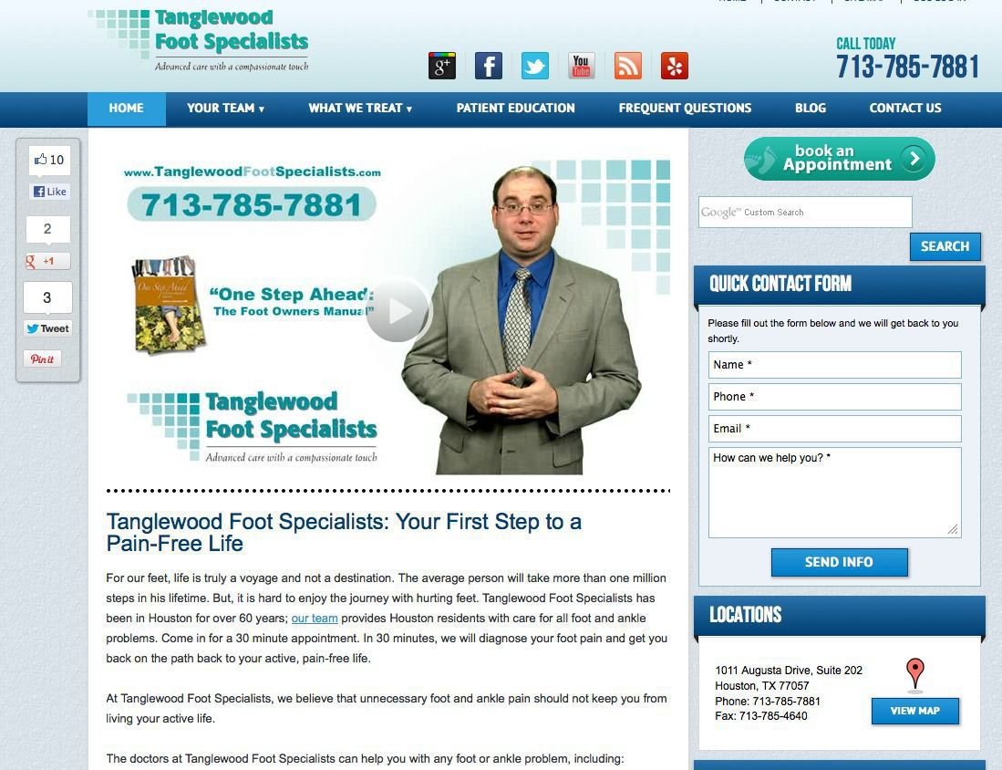 Houston Podiatrist Dr. Andrew Schneider Tanglewood Foot Specialists Website