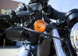 Closeup of a Motorcycle With Turn Signals