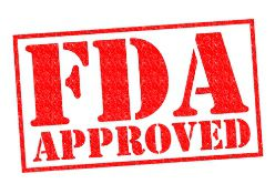 Red FDA Approved Stamp on a White Background