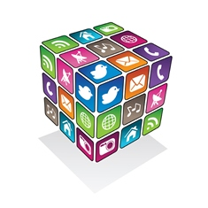 Social Media Cube With Various Social Media Buttons