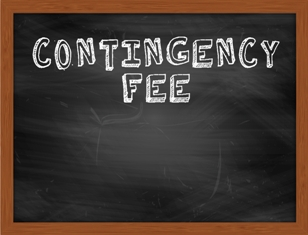 Contingency fee written on a blackboard