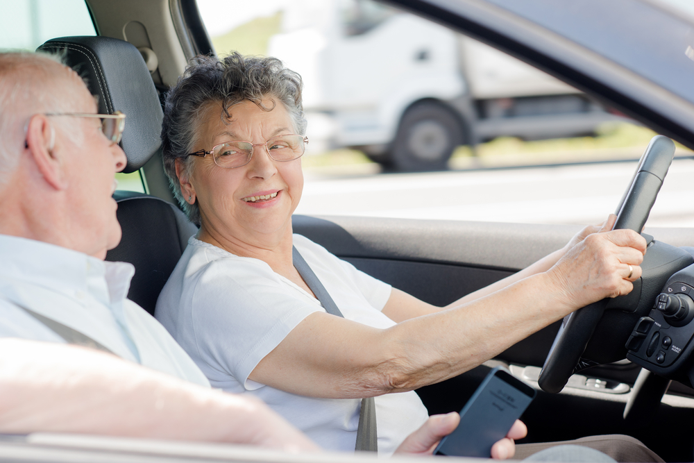 Elderly drivers in a car