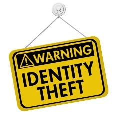 Warning Identity Theft Yellow Sign