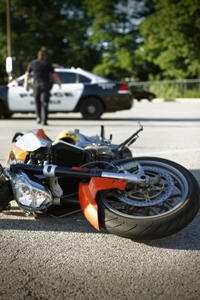 Motorcycle crashed in road