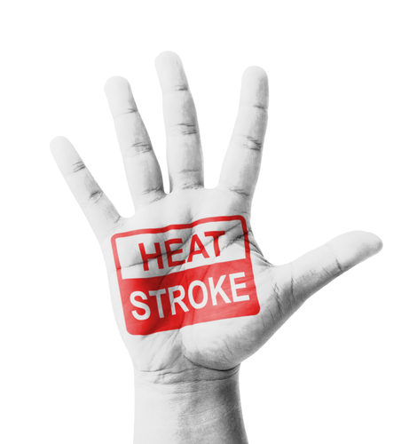 "hand with words ""heat stroke"" on the palm"