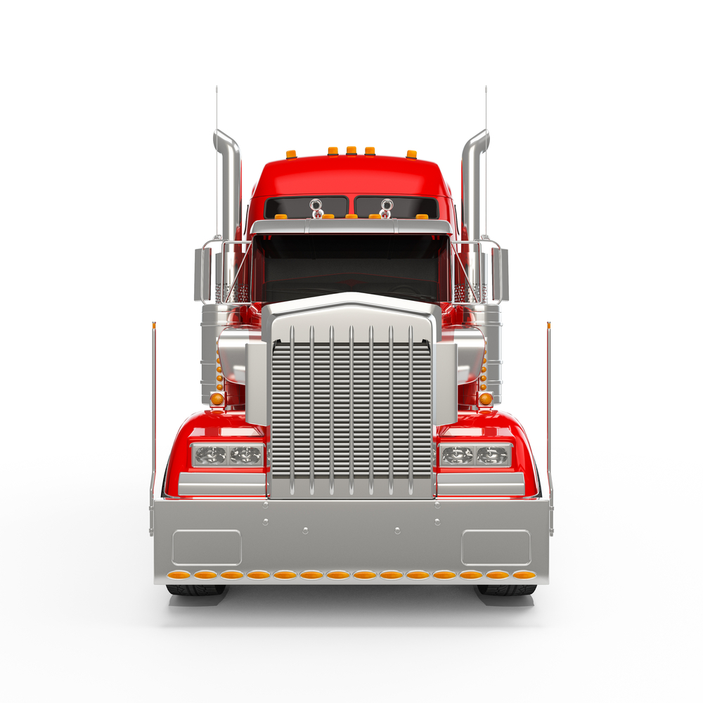 Front of red semi truck