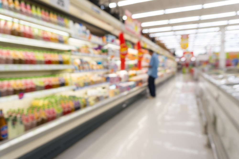 Blurred image of superstore aisle
