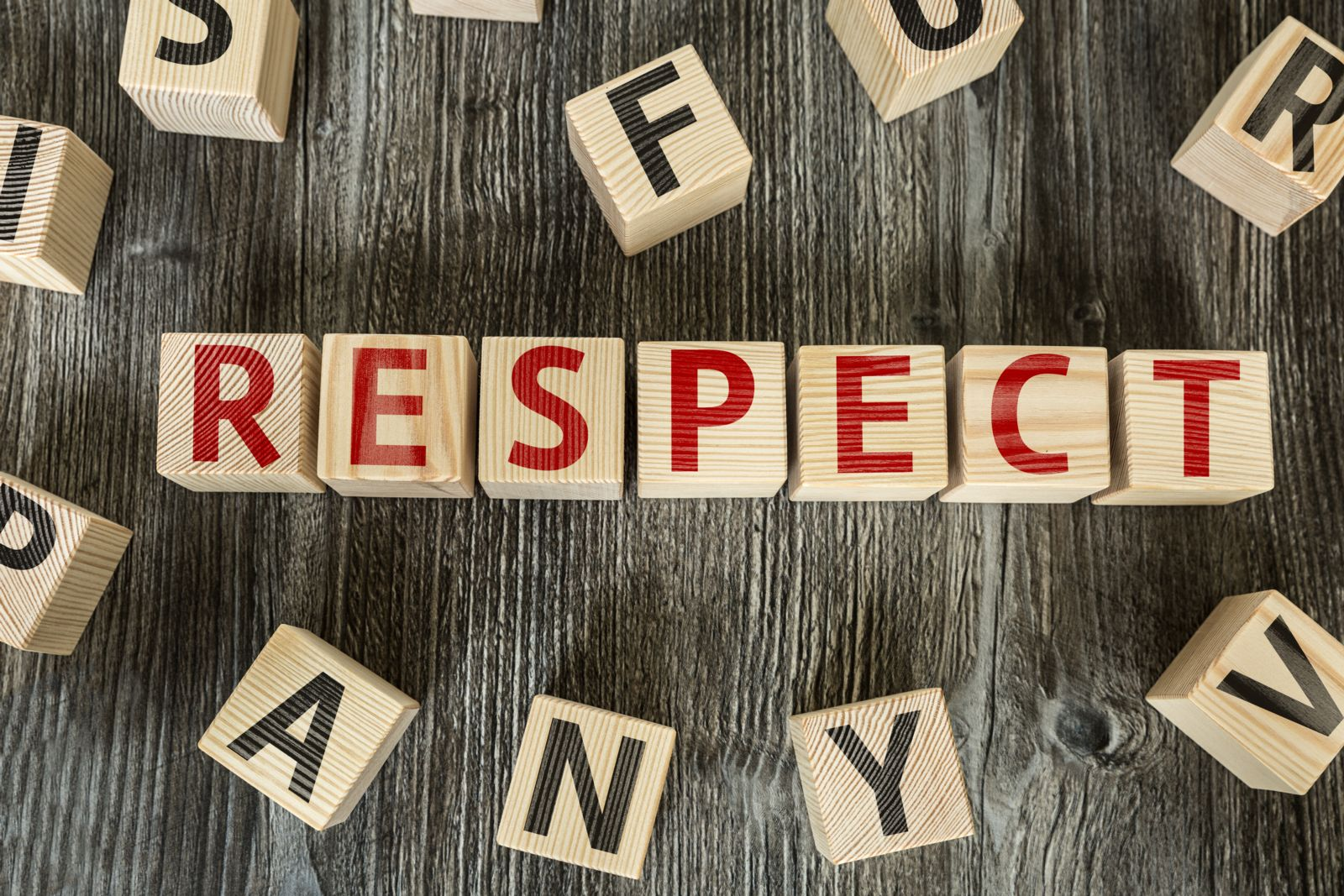 "blocks spelling the word ""respect"""