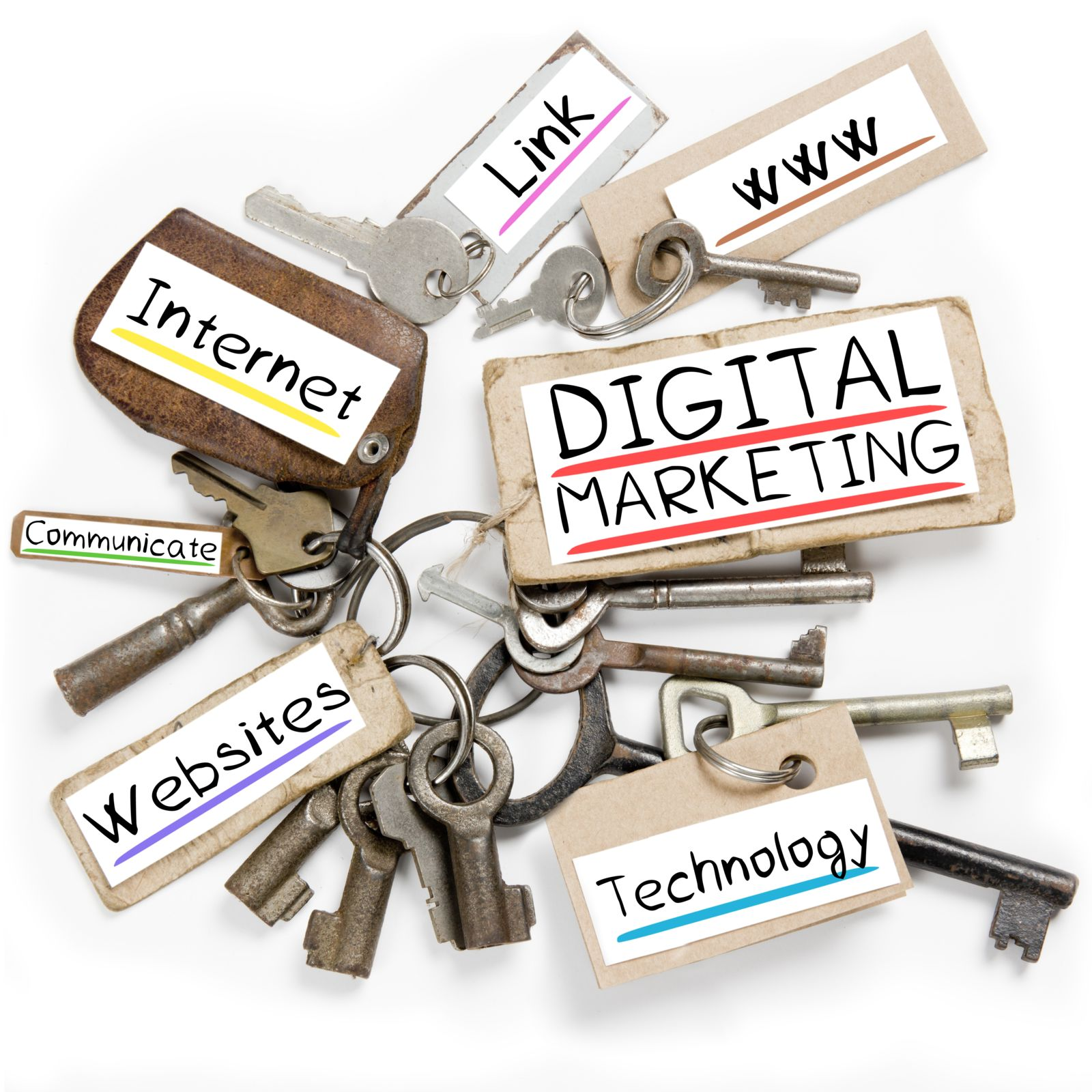 set of keys with online marketing terms