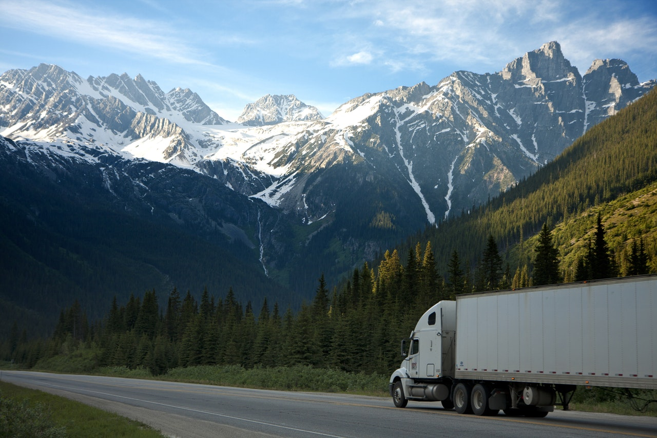 Truck driving on a mountain pass