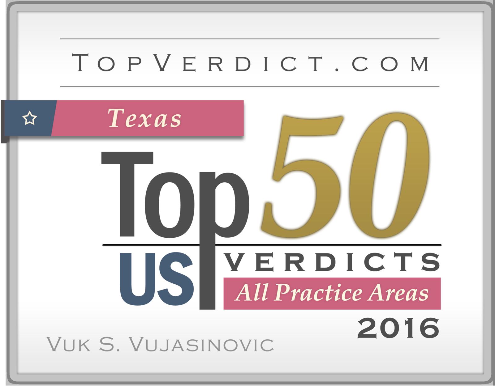 Top Verdict awards Vuk Vujasinovic for historic $17,720,000 verdict