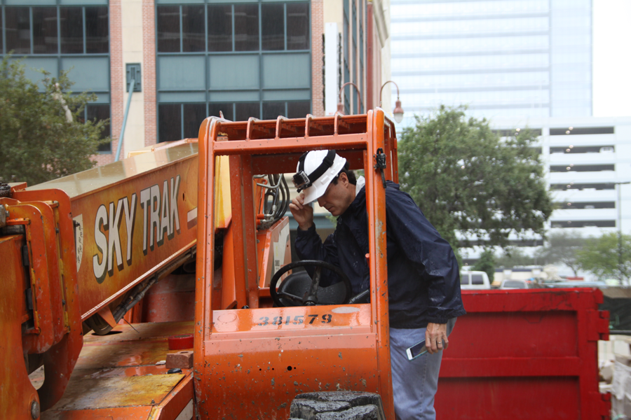 Vuk Vujasinovic inspecting boom lift at site of October 16 scaffold collapse