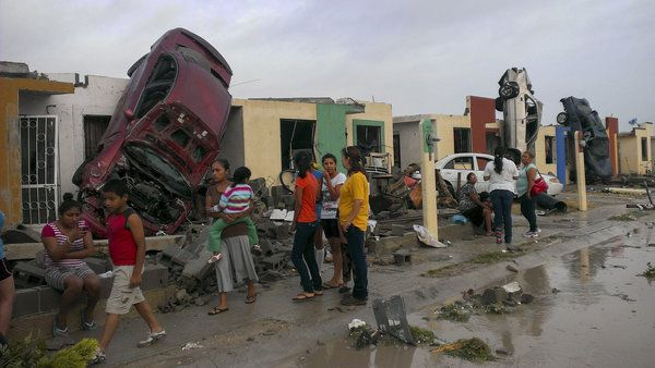 A Tornado devastated the small Mexican border town of Ciudad Acuna during Monday's storms. Ramiro Gomez/Reuters