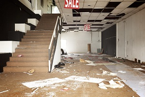 Shopping center has been devastated and abandoned after fire and smoke damage