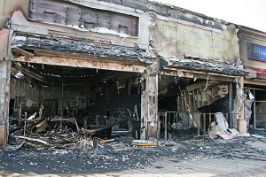 Retail outlets destroyed by fire