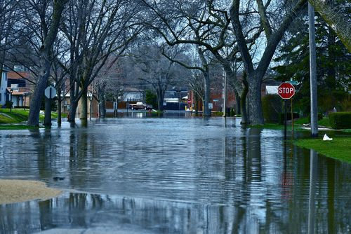Deep Flooding on a Residential Street