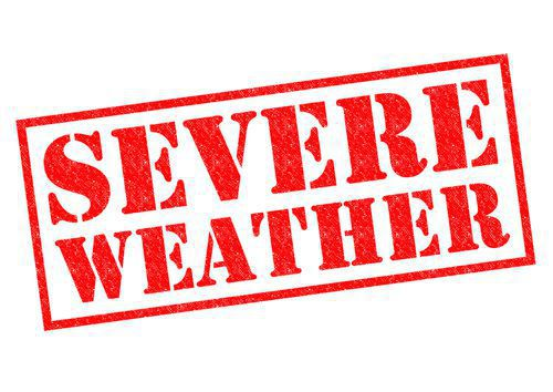 Severe Weather Stamp in Bright Red