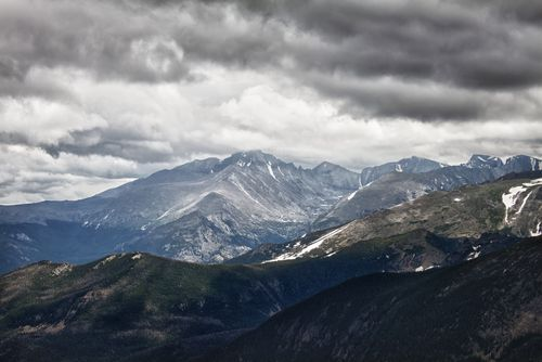 Mountain Line in Colorado With a Storm Looming Above