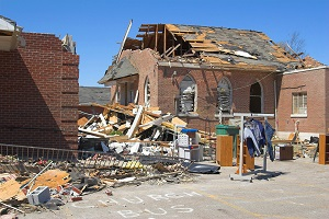 Building destroyed by recent severe weather