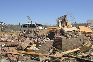Debris from a building destroyed by hurricane