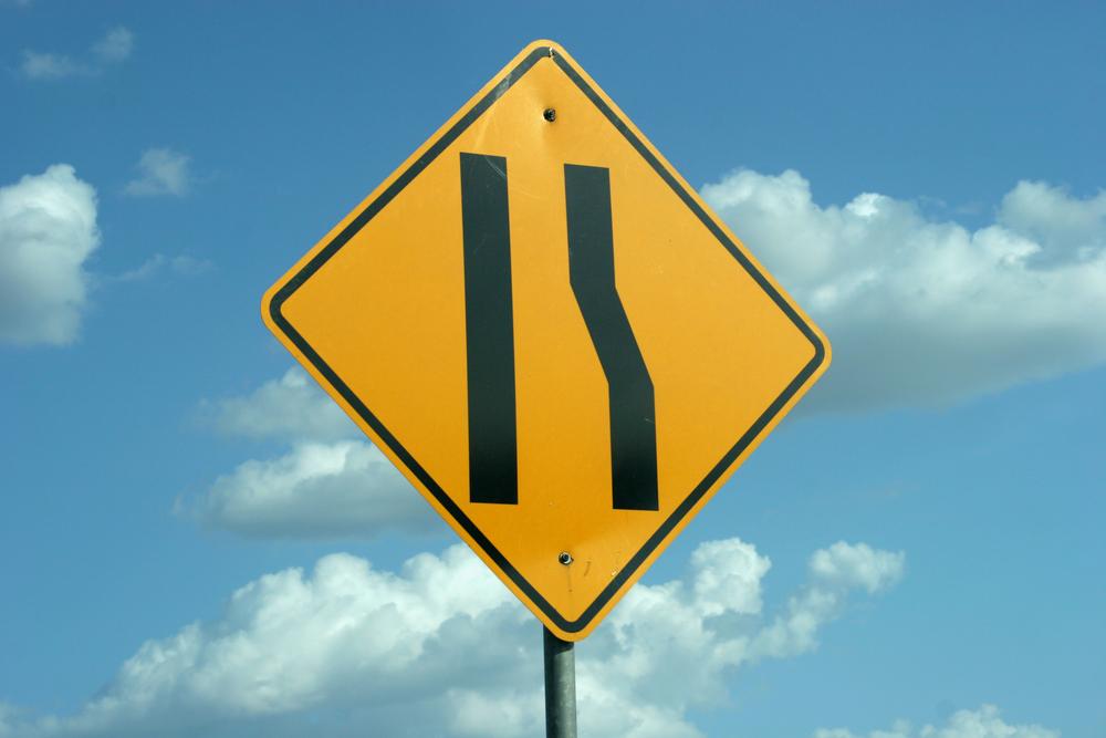 Highway merge sign