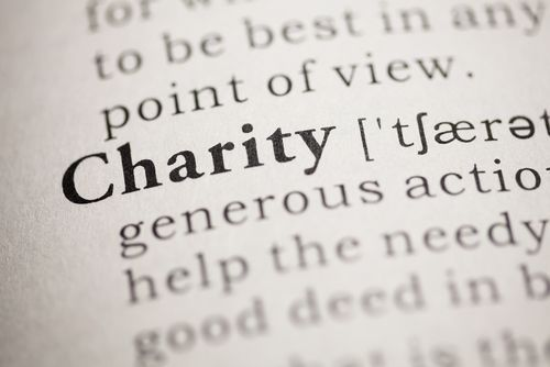 A Closeup of Charity in the Dictionary
