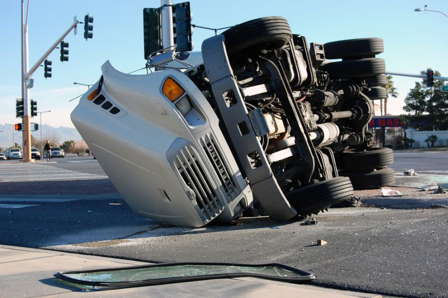 An overturned truck that was involved in a accident