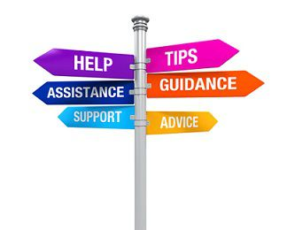 Street signs that say: Help, Assistance, Support, Tips, Guidance, Advice